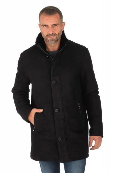 Manteau en mouton retourné noir homme