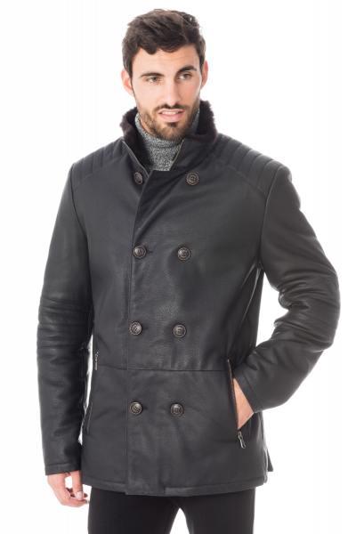 Manteau homme en cuir d'agneau fourré