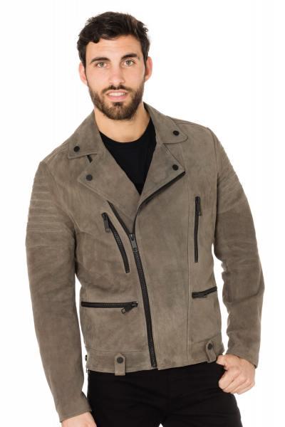 Perfecto en cuir de chèvre aspect velours gris              title=