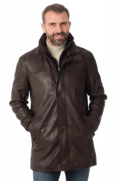 Manteau en cuir d'agneau marron              title=