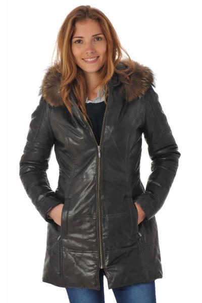 Manteau femme en cuir d'agneau marron              title=
