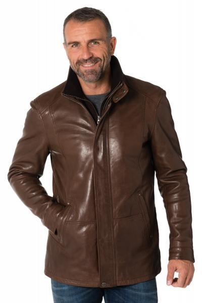 Veste homme en cuir de mouton coloris bison              title=