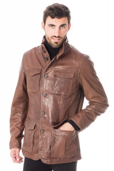 Veste saharienne homme en cuir d'agneau