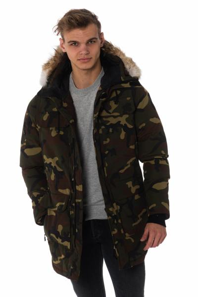 Parka homme Helvetica camouflage vert               title=