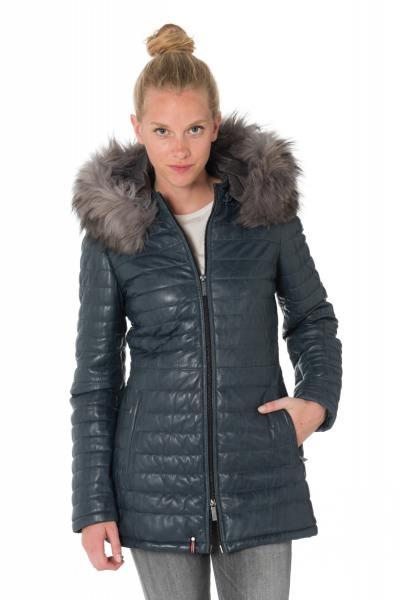 Warme Damen Jacke in blauen Schafsleder