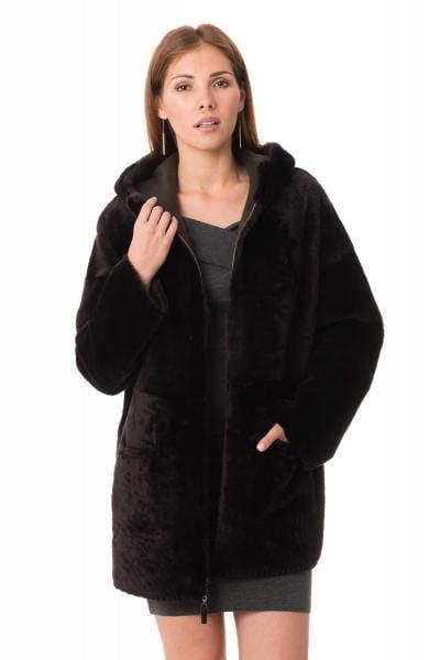 Manteau en mouton retourné réversible marron