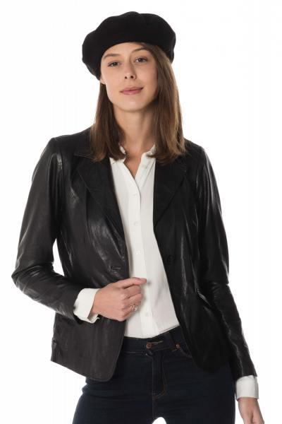 Blazer noir femme en cuir d'agneau              title=