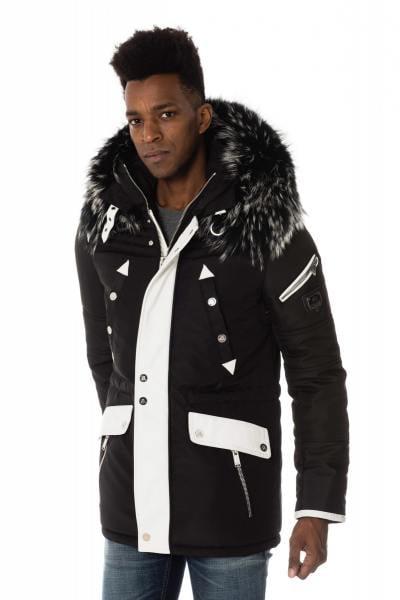 Parka homme en polyamide et cuir noir et blanc              title=