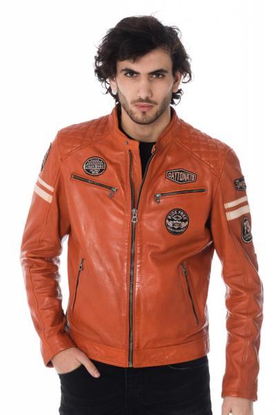 Blouson cuir motard orange avec patchs