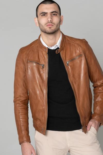 Blouson Daytona Homme en cuir d'agneau Cognac