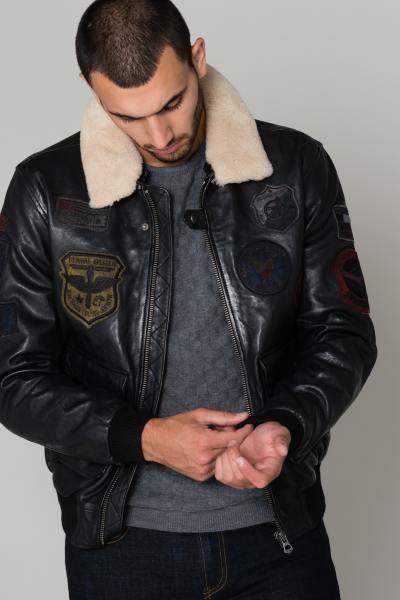 Blouson Daytona Homme en cuir d'Agneau Noir               title=