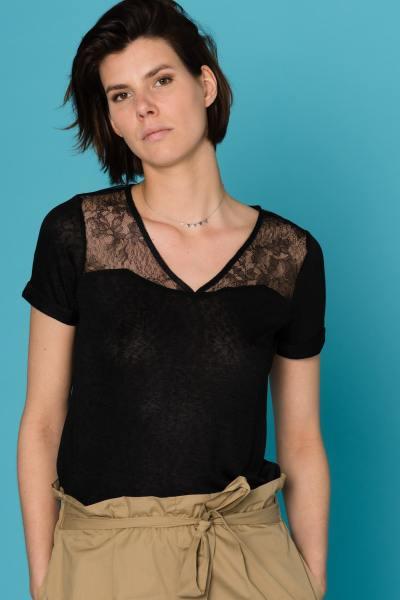 schwarzes Damen T-Shirt mit Spitze              title=