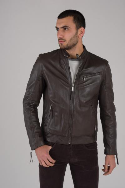 Blouson en cuir de mouton marron Redskins              title=