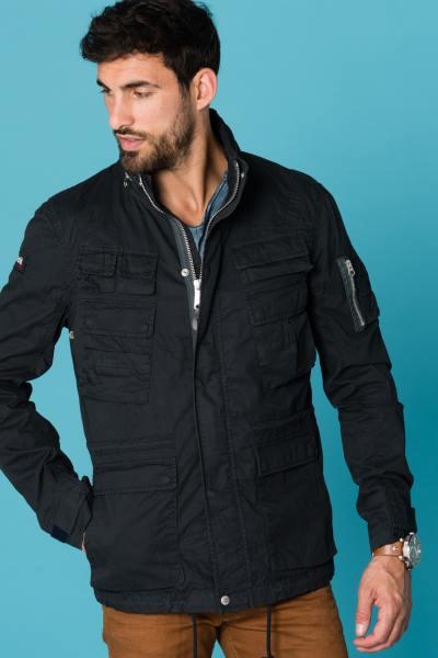 Manteau textile bleu marine homme