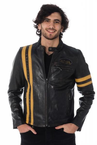 Blouson en cuir vintage bandes jaunes              title=