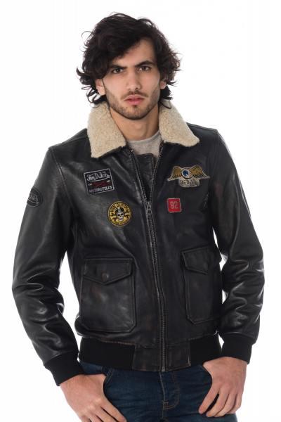Blouson aviateur en cuir patché              title=