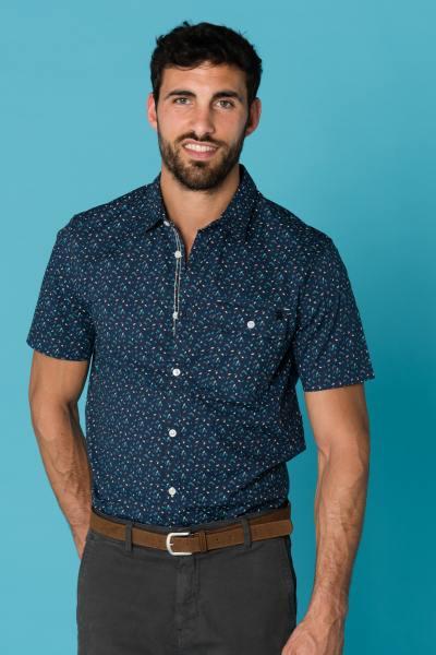 chemise homme manches courtes bleu marine rage blue us              title=