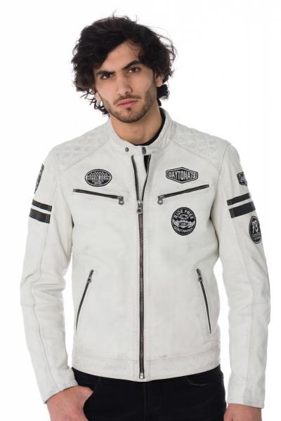 Blouson biker blanc patchs noirs              title=