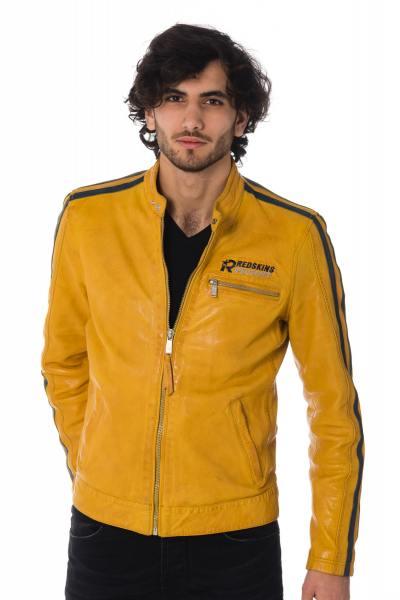 Blouson en cuir jaune homme              title=