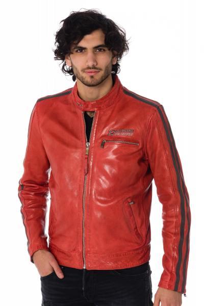 rote Herren Lederjacke mit grauen Streifen