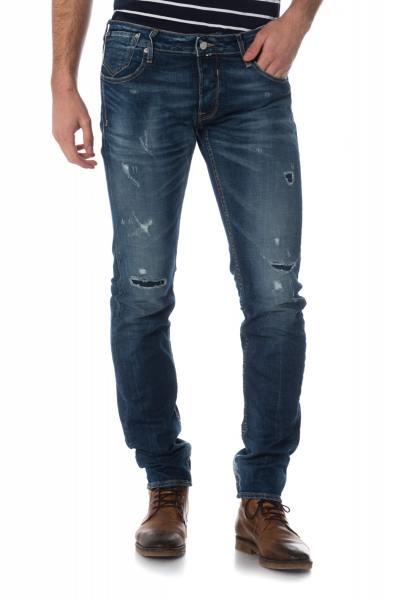 blaue ausgewaschene Herren Jeans mit Löchern              title=