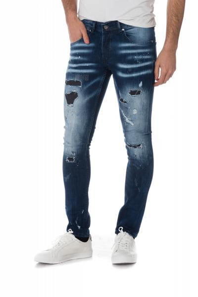 blaue ausgewaschene Herren Jeans im Destroy-Look