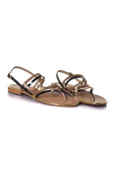 Sandale plate noir/marron              title=