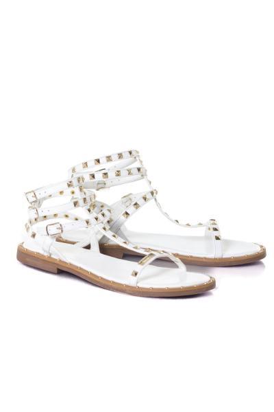 Sandale blanche montante femme              title=
