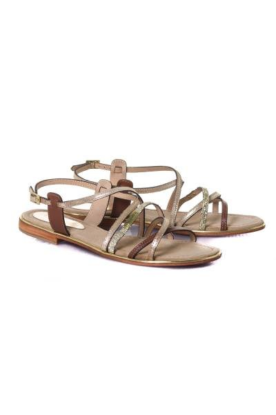 Chaussures femme tan/or