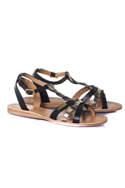 Sandales noir or femme              title=