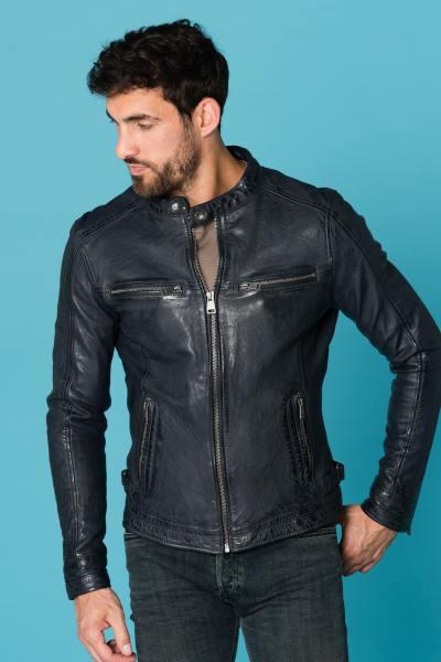Blaue Jacke aus pflanzlichem Leder              title=