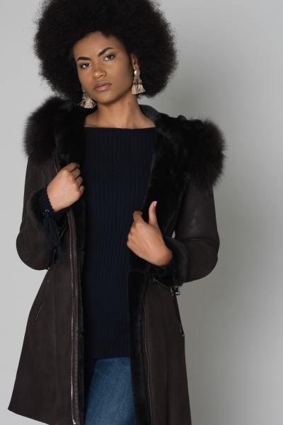 Veste longue peau lainée mérinos