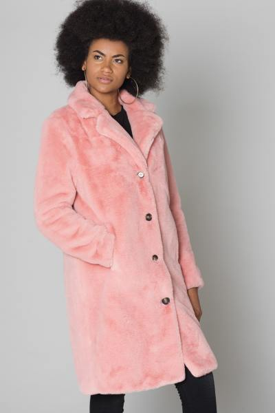 Long manteau fausse fourrure rose              title=