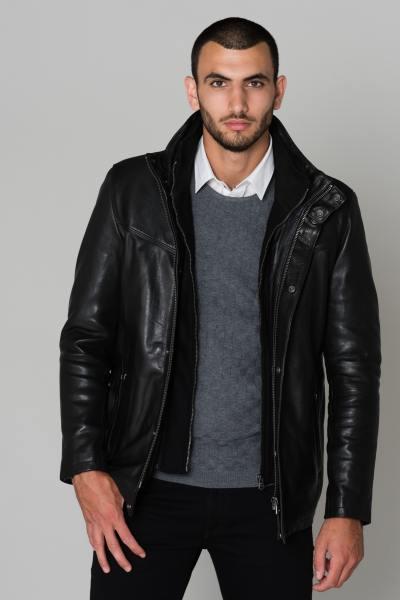 Veste noire cuir de vachette              title=