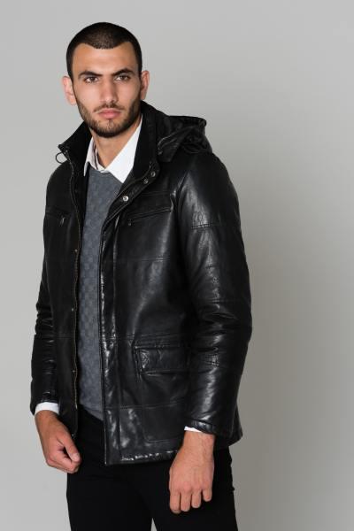 Blouson cuir d'agneau noir              title=