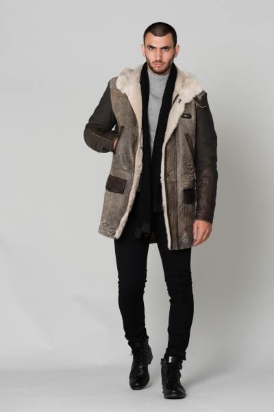 Parka en peau de mouton et textile