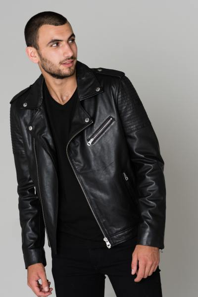 Perfecto cuir noir homme Redskins              title=