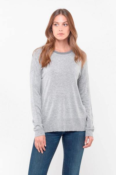 Pull gris clair manches longues