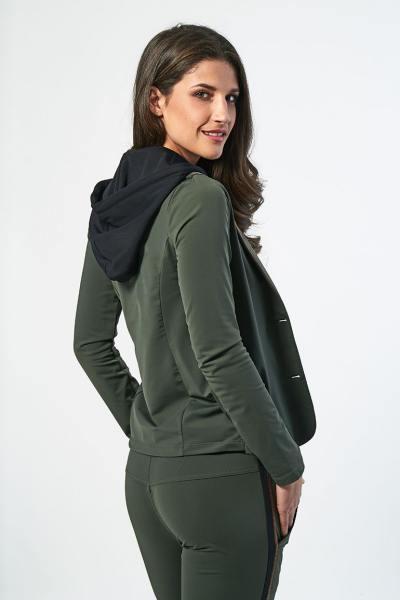 Pull/Sweatshirt Femme hbt BLAZER CAPUCHE SHIRLEY KAKI/NOIR