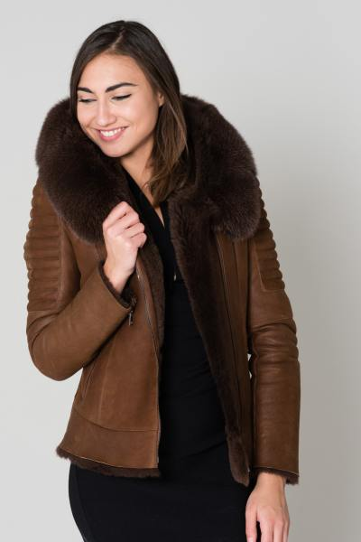 Blouson cuir de mouton marron               title=