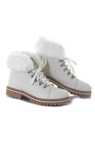 Boots blanches fourrées à la cheville              title=