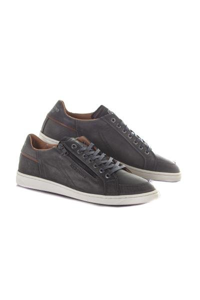 Graue Leder- und Cognac-Sneakers              title=