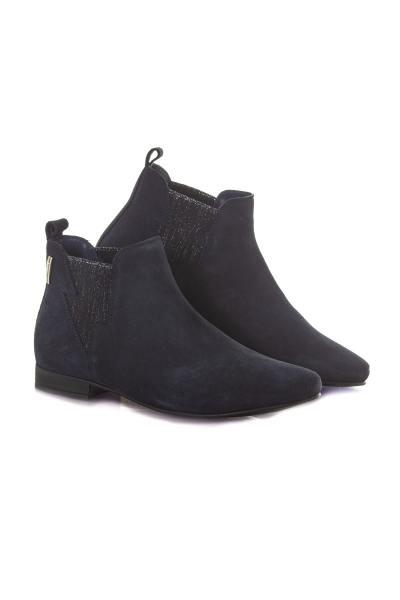 Boots bleu marine en cuir              title=