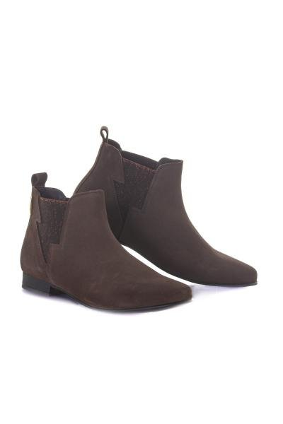 Boots en cuir taupe              title=
