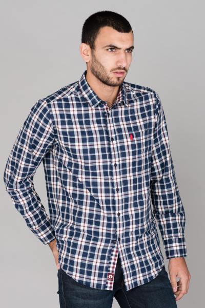 Chemise à carreaux bleu marine              title=