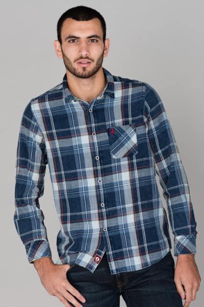 Chemise longues manches bleu à carreaux              title=