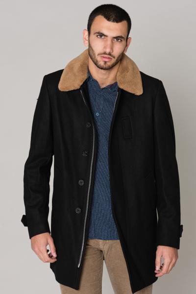 Schwarze Jacke mit Acryl-Pelzkragen