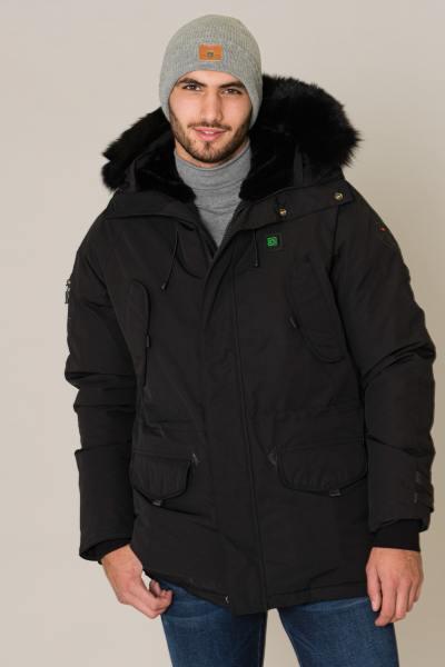 Manteau noir chauffant avec fourrure              title=