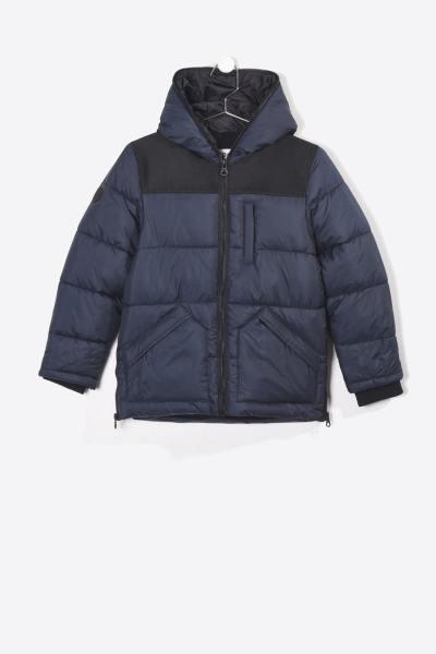 marineblau-schwarze Jungen Winterjacke mit Kapuze