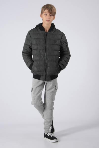 schwarze Jungen Jacke mit abnehmbarer Kapuze